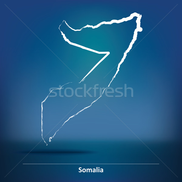 Doodle carte Somalie texture signe Afrique Photo stock © ojal