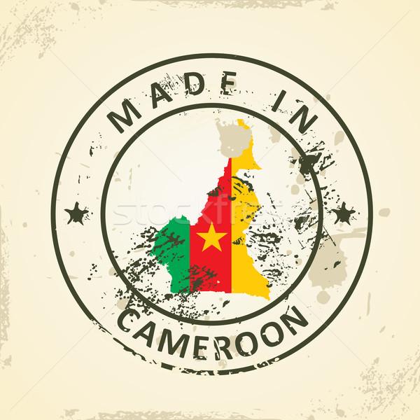 Stempel kaart vlag Kameroen grunge ontwerp Stockfoto © ojal
