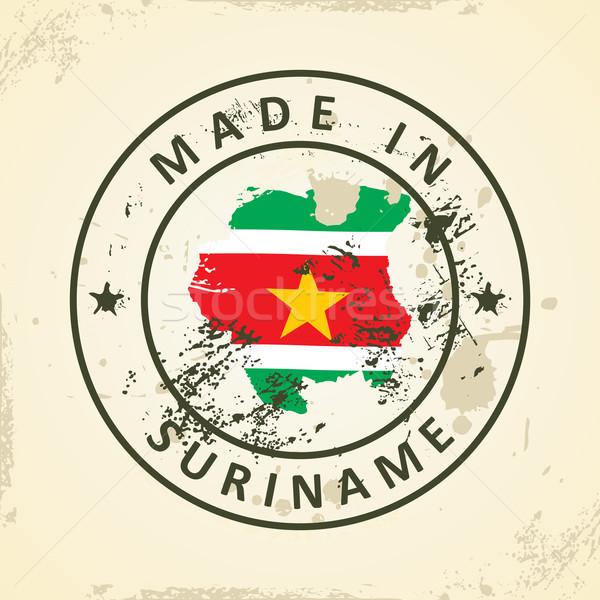 штампа карта флаг Суринам Гранж Мир Сток-фото © ojal