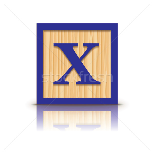 Vector letter X wooden alphabet block Stock photo © ojal