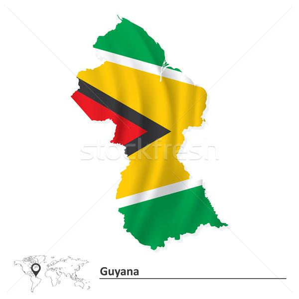 Kaart Guyana vlag textuur ontwerp achtergrond Stockfoto © ojal