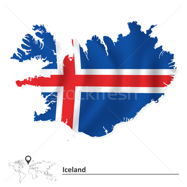 Map of Iceland with flag Stock photo © ojal