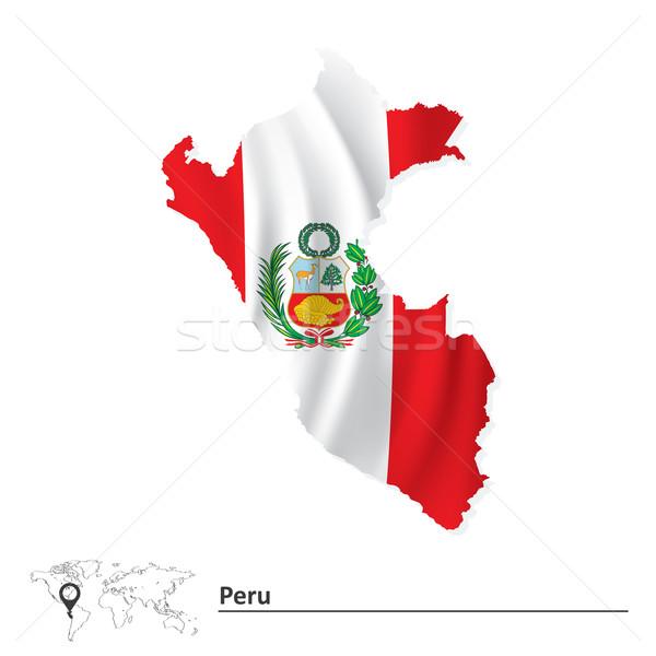 Mapa Peru bandeira textura abstrato fundo Foto stock © ojal