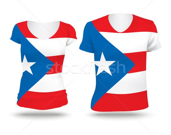 Vlag shirt ontwerp Puerto Rico vrouw man Stockfoto © ojal