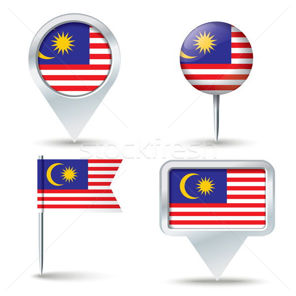 Map pins with flag of Malaysia Stock photo © ojal