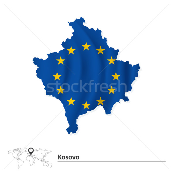Mapa Kosovo europeu união bandeira mundo Foto stock © ojal