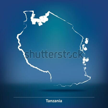 Doodle Map of Sao Tome and Principe Stock photo © ojal