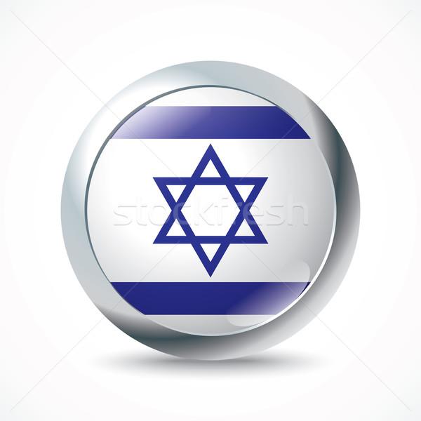 Izrael banderą przycisk projektu sztuki niebieski Zdjęcia stock © ojal