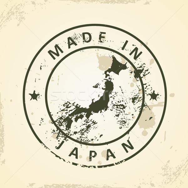 Carimbo mapa Japão grunge mundo assinar Foto stock © ojal