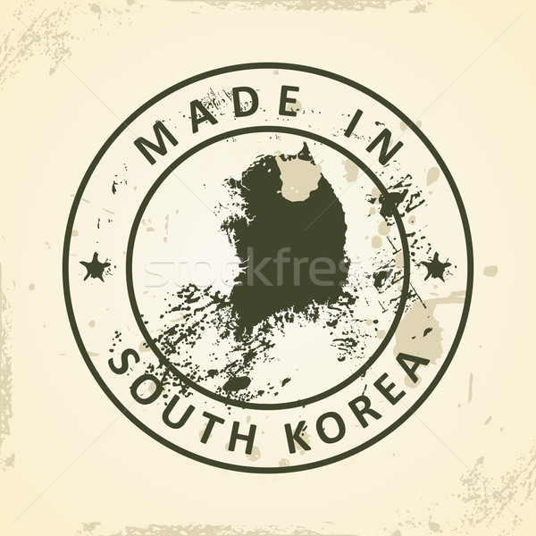 Stamp with map of South Korea Stock photo © ojal