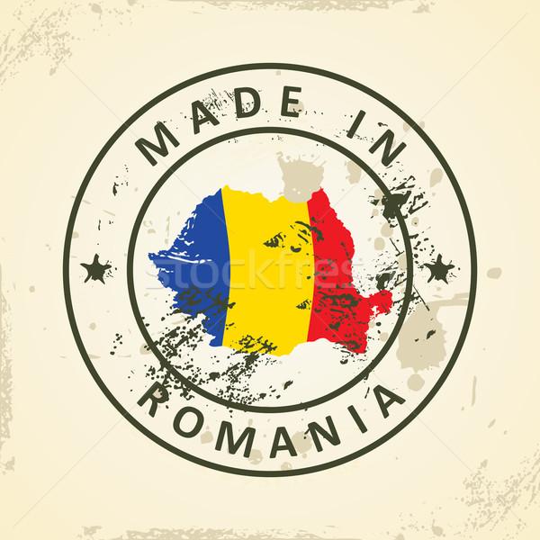 Timbro mappa bandiera Romania grunge mondo Foto d'archivio © ojal