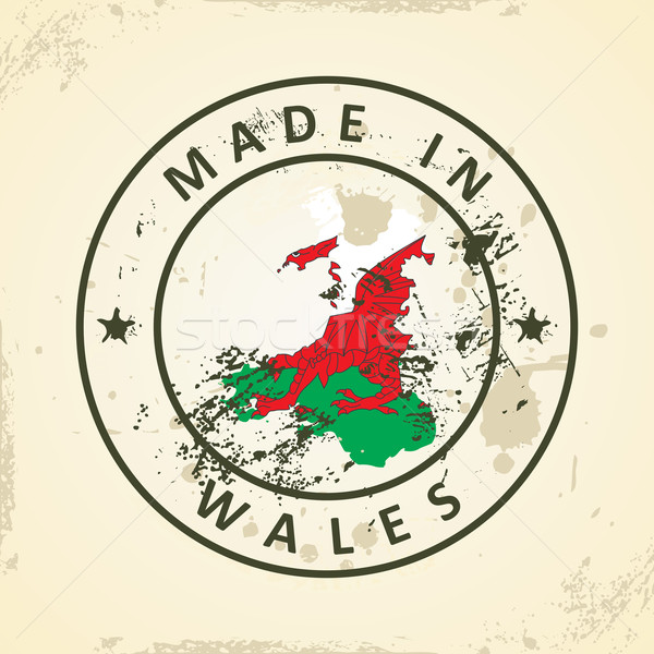 Stamp with map flag of Wales Stock photo © ojal
