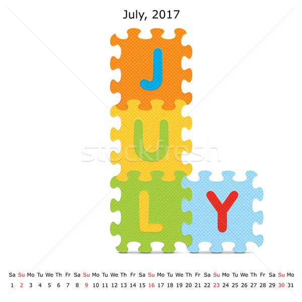 July 2017 puzzle calendar Stock photo © ojal