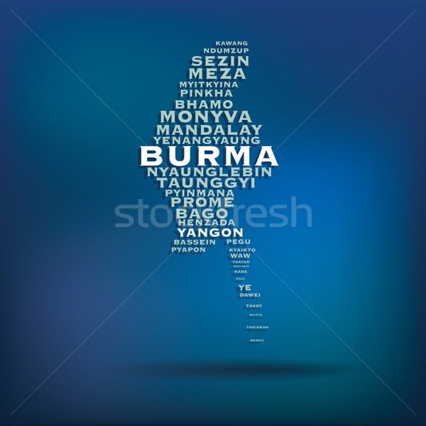 Burma map made with name of cities Stock photo © ojal