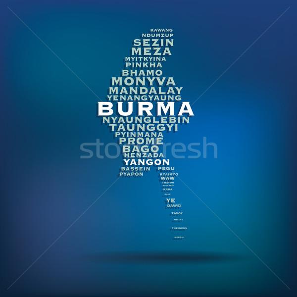 Birma kaart naam steden textuur stad Stockfoto © ojal