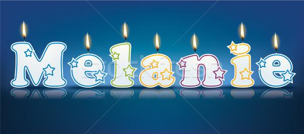 Napisany palenie świece świetle urodziny pomarańczowy Zdjęcia stock © ojal