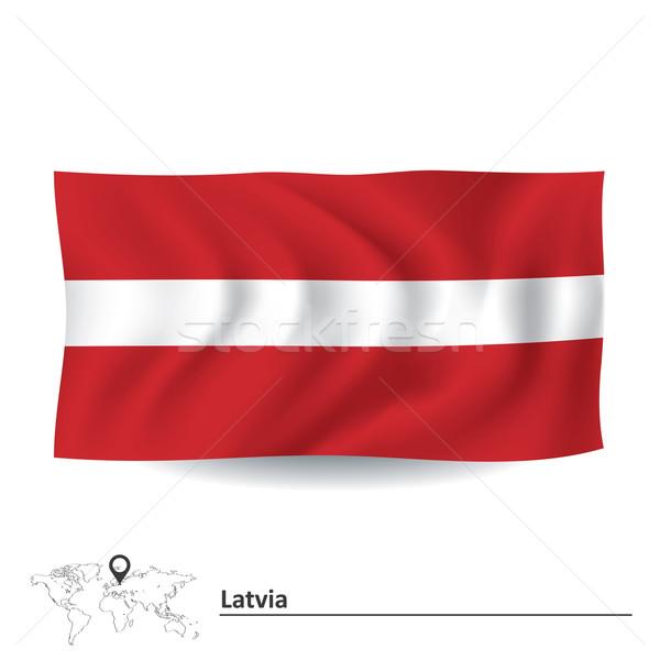 Zászló Lettország terv háttér utazás sziluett Stock fotó © ojal