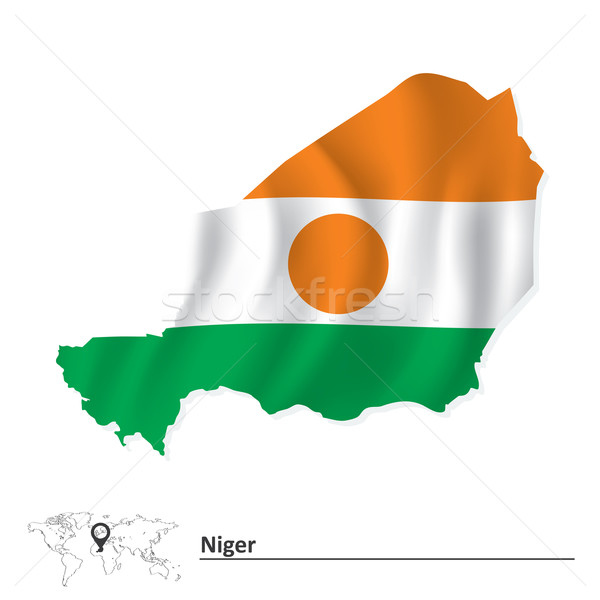 карта Нигер флаг текстуры дизайна зеленый Сток-фото © ojal