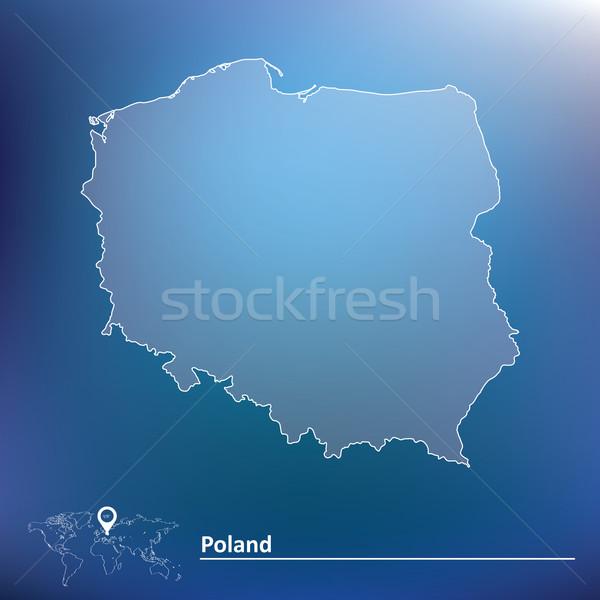 Carte Pologne résumé signe asian vent Photo stock © ojal