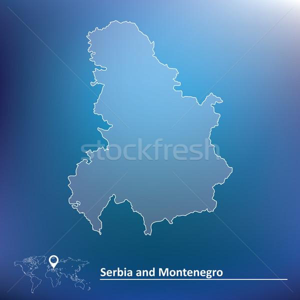 Carte Serbie Monténégro texture design bleu Photo stock © ojal