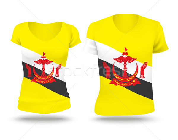 Vlag shirt ontwerp Brunei vrouw man Stockfoto © ojal