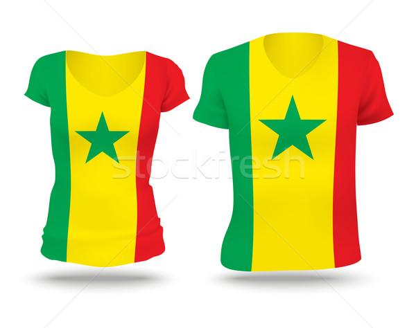 Zászló póló terv Szenegál nő férfi Stock fotó © ojal