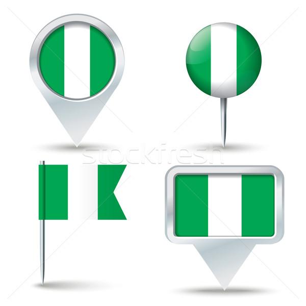 Mapa bandeira Nigéria negócio estrada branco Foto stock © ojal