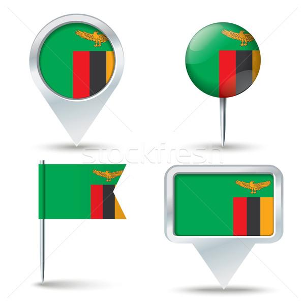 Harita bayrak Zambiya iş yol beyaz Stok fotoğraf © ojal