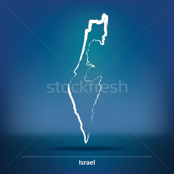 Doodle mappa Israele texture mondo arte Foto d'archivio © ojal