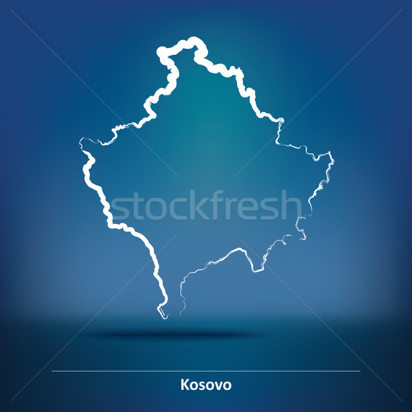 Rabisco mapa Kosovo fundo preto traçar Foto stock © ojal