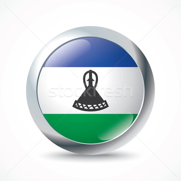Лесото флаг кнопки текстуры дизайна синий Сток-фото © ojal