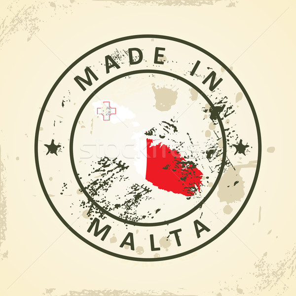 Stock photo: Stamp with map flag of Malta
