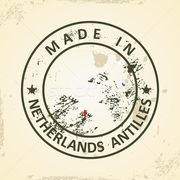 Timbro mappa bandiera Paesi Bassi grunge mondo Foto d'archivio © ojal