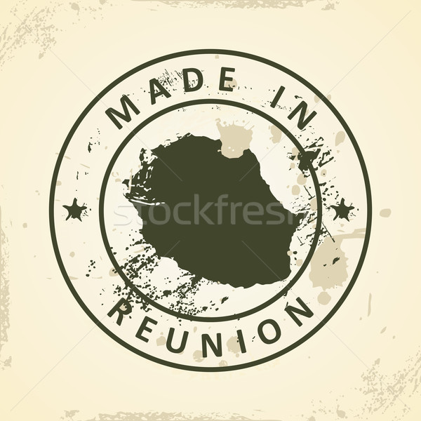 Stock photo: Stamp with map of Reunion