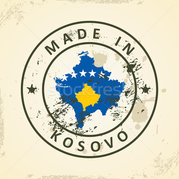 Carimbo mapa bandeira Kosovo grunge fundo Foto stock © ojal