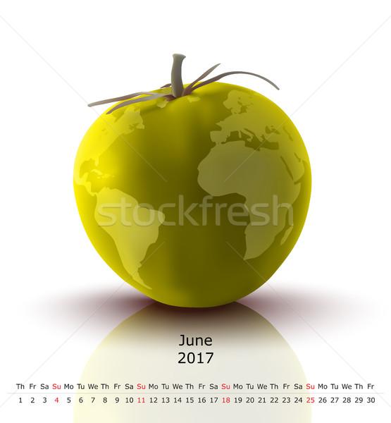 Tomaat kalender business papier wereldbol ontwerp Stockfoto © ojal