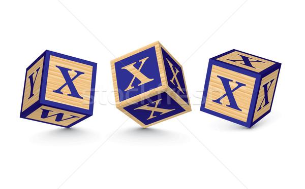 Vector letter X wooden alphabet blocks Stock photo © ojal