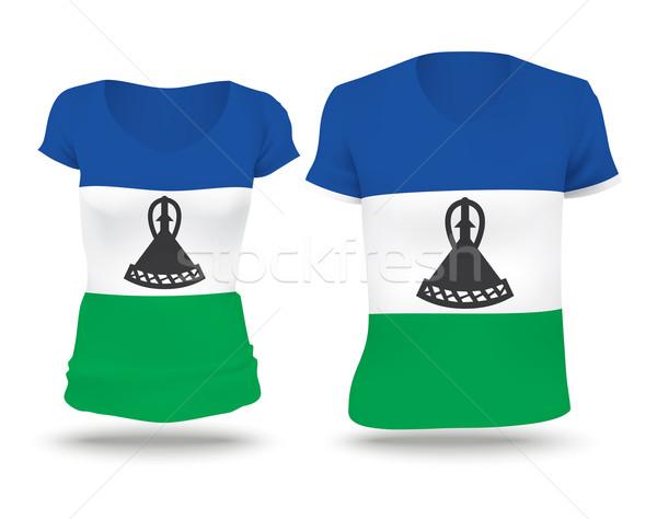 Pavillon shirt design Lesotho femme homme Photo stock © ojal