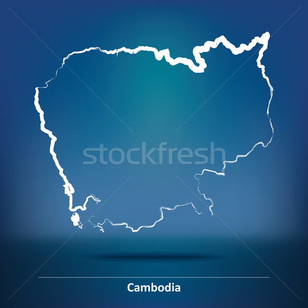 Doodle carte Cambodge ville résumé design Photo stock © ojal