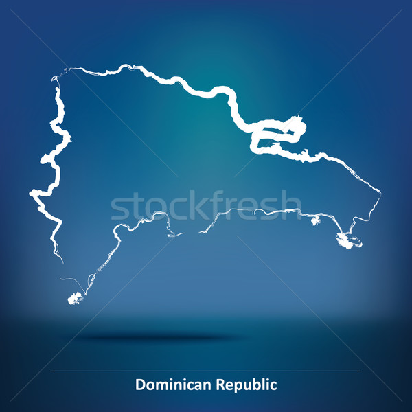 Doodle Map of Dominican Republic Stock photo © ojal