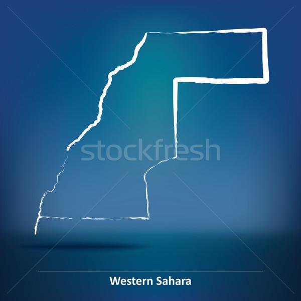 Doodle kaart westerse sahara land tekening Stockfoto © ojal