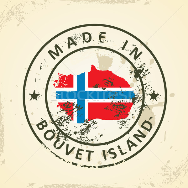 Stamp with map flag of Bouvet Island Stock photo © ojal