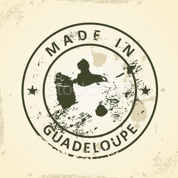 Stamp with map of Guadeloupe Stock photo © ojal
