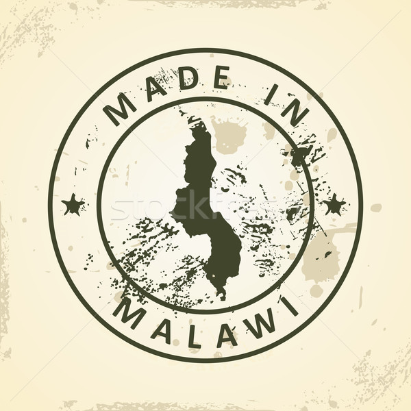 Stamp with map of Malawi Stock photo © ojal