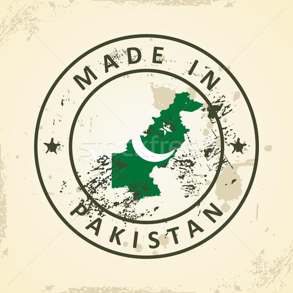 Damga harita bayrak Pakistan grunge dizayn Stok fotoğraf © ojal
