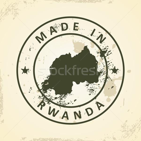 Tampon carte Rwanda grunge monde vert Photo stock © ojal