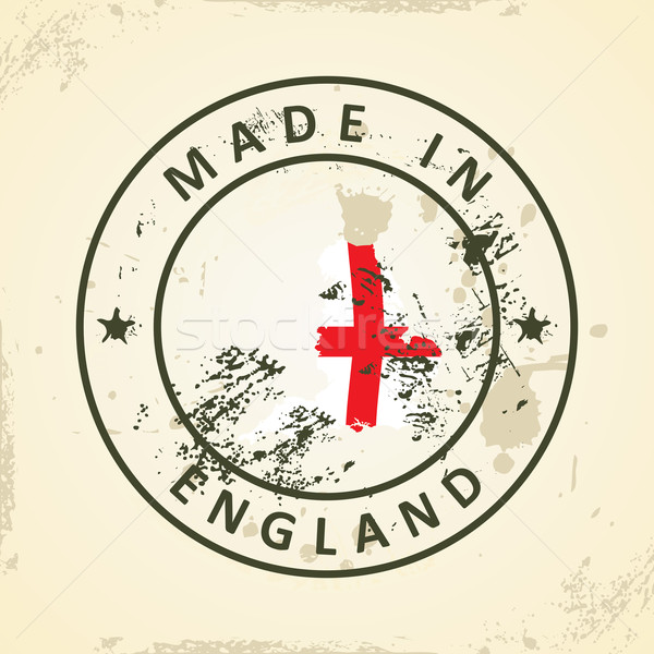 Stamp with map flag of England Stock photo © ojal