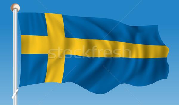 Vlag Zweden wereld Blauw reizen silhouet Stockfoto © ojal
