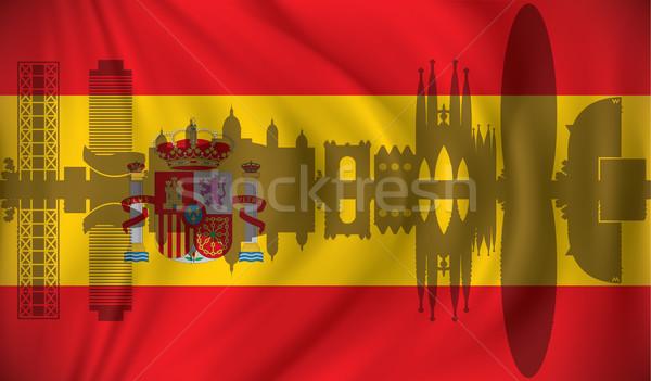 Bayrak ufuk çizgisi turuncu mavi dalga siluet Stok fotoğraf © ojal