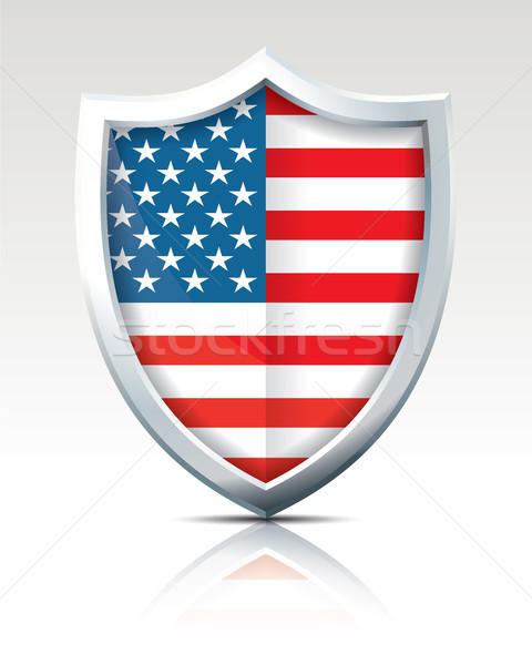 Kalkan bayrak Amerika Birleşik Devletleri Amerika dünya seyahat Stok fotoğraf © ojal